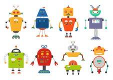 Lustiger lokalisierter Robotersatz Zukünftige Roboter lokalisiert auf Weiß Flacher Vektorillustrationssatz Stockbilder
