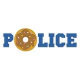 Lustiger lokalisierter Vektor der Donutpolizei-Karikatur Stockbild