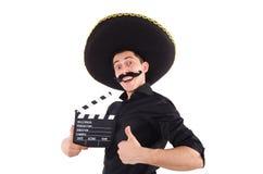 Lustiger Mann, der den mexikanischen Sombrerohut lokalisiert trägt Lizenzfreies Stockbild