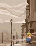 Lustiger Mann der Karikatur, der entlang eines Apfels anstarrt Lizenzfreie Stockfotos