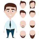 Lustiger Mann der Karikatur mit den Haarschnitten eingestellt Stockfoto