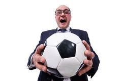 Lustiger Mann mit Fußball lokalisiert Lizenzfreie Stockfotografie