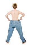 Lustiger Mann mit Hose Stockfoto