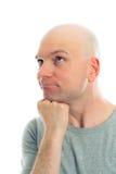 Lustiger Mann mit Kahlkopf refacting Stockbilder