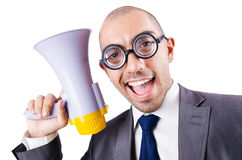 Lustiger Mann mit Lautsprecher Stockbild