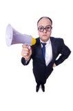 Lustiger Mann mit Lautsprecher Stockfoto