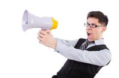 Lustiger Mann mit Lautsprecher Stockfotografie