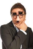 Lustiger Mann mit Schablone Stockbilder