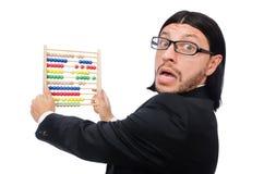 Lustiger Mann mit Taschenrechner und Abakus Lizenzfreies Stockfoto