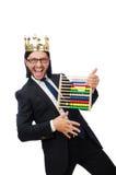 Lustiger Mann mit Taschenrechner und Abakus Lizenzfreie Stockfotos