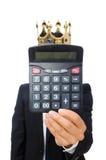 Lustiger Mann mit Taschenrechner und Abakus Stockbilder