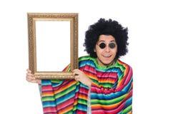 Lustiger Mexikaner mit dem Fotorahmen lokalisiert auf Weiß Lizenzfreie Stockfotografie