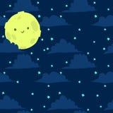 Lustiger Mond mit nahtlosem Hintergrund der kleinen Sterne Lizenzfreie Stockfotos