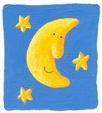 Lustiger Mond und die Sterne auf dem blauen Hintergrund