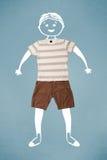 Lustiger netter smileycharakter in der zufälligen Kleidung Lizenzfreie Stockbilder