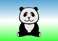 Lustiger Panda sitzt aus den Grund Stockbild