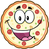 Lustiger Pizza-Karikatur-Maskottchen-Charakter Stockbild