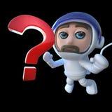 lustiger Raumfahrer-Astronautencharakter der Karikatur 3d, der ein Fragezeichen im Raum jagt Lizenzfreies Stockfoto
