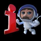 lustiger Raumfahrer-Astronautencharakter der Karikatur 3d, der ein Informationssymbol jagt Lizenzfreies Stockbild