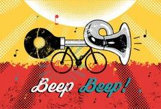 Lustiger Retro- Schmutzplakat Signalton-Signalton! Fahrrad mit Hupe Auch im corel abgehobenen Betrag Stockfoto