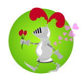 Lustiger Ritter mit Blumen für Valentinstag Lizenzfreies Stockbild