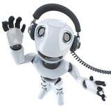 lustiger Robotercharakter der Karikatur 3d, der etwas flippige Musik auf Kopfhörern hört Lizenzfreies Stockfoto