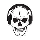 Lustiger Schädel mit Kopfhörern. Lokalisierter Gegenstand.? Stockbilder