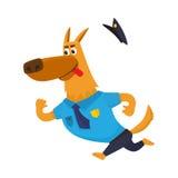Lustiger Schäferhundecharakter in der blauen Polizeiuniform, die Verdächtigen jagt Stockfotos