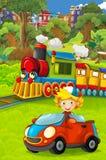 Lustiger schauender Dampfzug der Karikatur, der die Stadt und das Kind fahren in Spielzeugauto vor ihm durchläuft lizenzfreie stockbilder