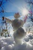 lustiger Schneemann in den Strahlen der Sonne Lizenzfreie Stockfotografie