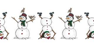 Lustiger Schneemann und nahtlose Grenze der Vögel Nette Winterurlaubikone Schwarze Linie Tintenperson im Hut und in gestricktem S stockfoto