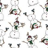 Lustiger Schneemann und nahtloses Muster der Vögel Netter Winterurlaub Schwarze Linie Tintenperson im Hut und in gestricktem Scha stockfoto