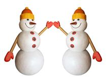 Lustiger Schneemann zwei Stockfotografie
