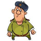 Lustiger Soldat der Karikatur in einem Pelzhut wert überrascht stock abbildung