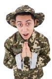Lustiger Soldat im Militär Stockfotografie