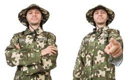 Lustiger Soldat lokalisiert auf Wei? lizenzfreie stockfotografie