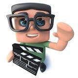 lustiger Sonderlings-Aussenseitercharakter der Karikatur 3d, der einen Film macht clapperboard hält lizenzfreie abbildung