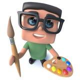 lustiger Sonderlingsaussenseiter-Hackercharakter der Karikatur 3d, der einen Malerpinsel und eine Palette hält Stockfotografie