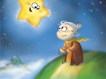 Lustiger Stern und Oma Stockfoto