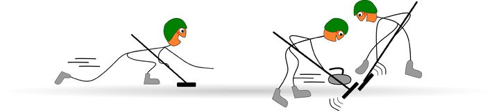 Lustiger Stock stellt dar, indem er an den olympischen Winterspielen sich kräuselt Lizenzfreies Stockfoto
