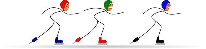 Lustiger Stock stellt durch Eisschnelllauf an den olympischen Winterspielen dar Stockfotografie