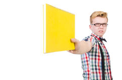 Lustiger Student mit den Büchern lokalisiert Stockfotografie