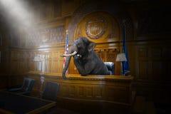 Lustiger surrealer Elefant-Richter, Rechtsanwalt, Gerichtssaal, Gesetz stockbild