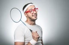 Lustiger Tennis-Spieler Stockfoto