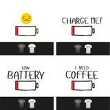 Lustiger Titel des Vektors der schwachen Batterie mit Lächelngesicht lizenzfreie abbildung