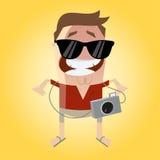 Lustiger Tourist mit Kamera und Sonnenbrille Stockfoto