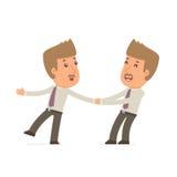 Lustiger und des fröhlichen Charakters Vermittler schleppt seinen Freund, um ihm etwas zu zeigen lizenzfreie abbildung