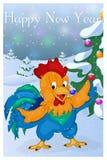 Lustiger und netter Hahn mit Weihnachtsbaum Karte der frohen Weihnachten und des guten Rutsch ins Neue Jahr Weihnachtskarte in de Stockbilder