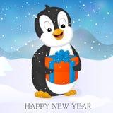 Lustiger und netter Pinguin mit Weihnachten Presente Karte der frohen Weihnachten und des guten Rutsch ins Neue Jahr Lizenzfreies Stockbild