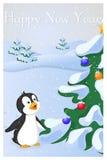 Lustiger und netter Pinguin sah Weihnachtsbaum an das erste mal Karte der frohen Weihnachten und des guten Rutsch ins Neue Jahr W Lizenzfreie Stockfotos